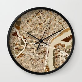 Philadelphia Pennsylvania Street Map Wall Clock