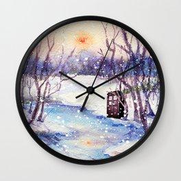 Tardis Art And The Snow River Wall Clock