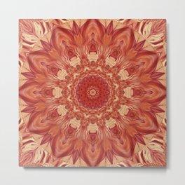 Mandala Flower red Metal Print