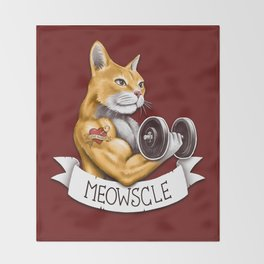 Meowscle Throw Blanket