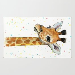 Baby-Giraffe-Nursery-Print-Watercolor-Animal-Portrait-Hearts Rug
