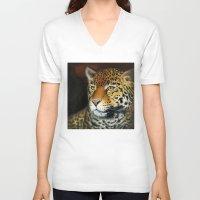 jaguar V-neck T-shirts featuring Jaguar by Claudia Hahn