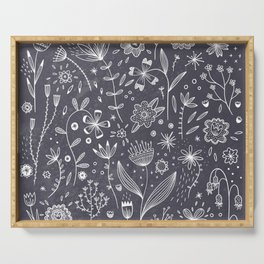 Chalkboard Flowers Serving Tray