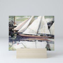 Watercolor of sail boats in marina Mini Art Print
