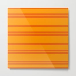 Halloween Orange Horizontal Stripes Metal Print