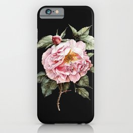 Wilting Pink Rose Watercolor on Charcoal Black iPhone Case