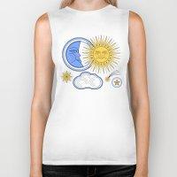 sun and moon Biker Tanks featuring Vintage Sun and Moon by Petya Hadjieva (ragerabbit)