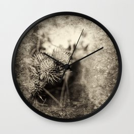 Beautiful thistle growing wild and sepia texture Wall Clock