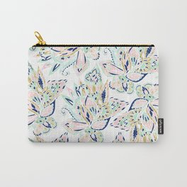 Modern pastel pink watercolor gold floral hand drawn paisley Carry-All Pouch