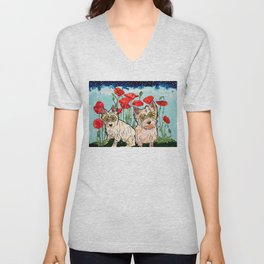 West Highland Terriers by RobiniArt Unisex V-Neck