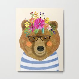 BEAR WITH FLOWERS Metal Print