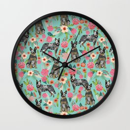 Australian Cattle Dog florals dog breed customized pet portrait by pet friendly Wall Clock