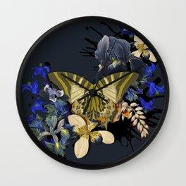 Vintage Black Jungle Butterfly Wall Clock
