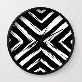 Minimalistic Black and White Paint Brush Triangle Diamond Pattern Wall Clock