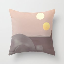 Retro Travel Poster Series - Star Wars - Tatooine Throw Pillow