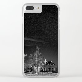 Neverwinter - Abandoned House Under Starry Night Sky in Black and White Clear iPhone Case
