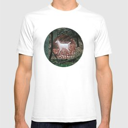The white Deer Of Winter In Green T-shirt