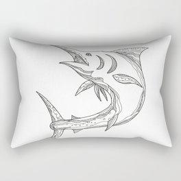 Atlantic Blue Marlin Doodle Rectangular Pillow