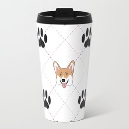 Corgi paw print pattern Travel Mug