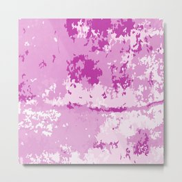Fuchsia Pink and Bright White Abstract Digital Artwork Metal Print