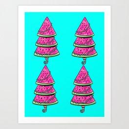 Aussie Christmas Card Set Pink & Aqua Design#8 Watermelon Trees v2 Art Print