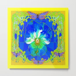 Cerulean Blue Pansy Yellow Abstract & Butterflies Metal Print