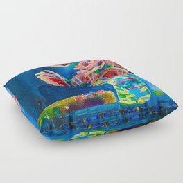 Study In Blue Floor Pillow