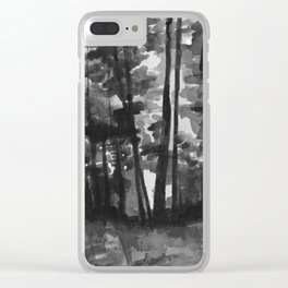 black and white forest Clear iPhone Case