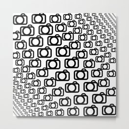 Photography Obsession, Camera Pattern Black and White Vector Metal Print