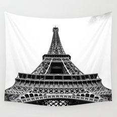 Eiffel Tower in Paris, Black and White (France, Europe) Wall Tapestry