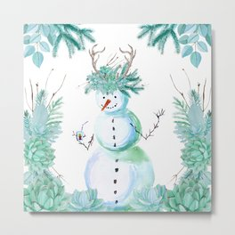 SNOWMAN PARTY ANIMAL Metal Print
