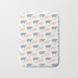 Pink Blue and Grey Pastel Color Sheep Silhouette Bath Mat