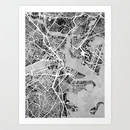 Boston Massachusetts Street Map Art Print