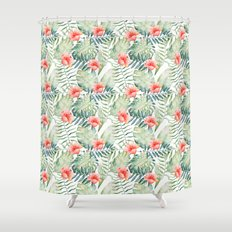 Tropical Leaves Hibiscus Floral Watercolor Shower Curtain