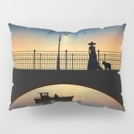 Romantic meeting by the river in the sunset Pillow Sham