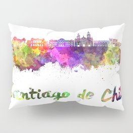 Santiago de Chile V2 skyline in watercolor  Pillow Sham