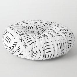 White Black Mud Cloth Pattern Floor Pillow