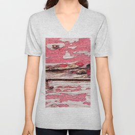 Red Painted Wooden Planks Texture Unisex V-Neck