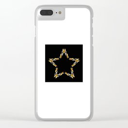 A decorative Celtic fractal flower in metallic colors Clear iPhone Case