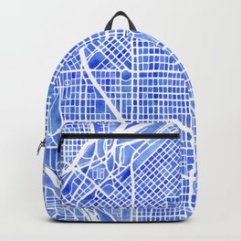 Denver Blueprint City Map Watercolor Backpack