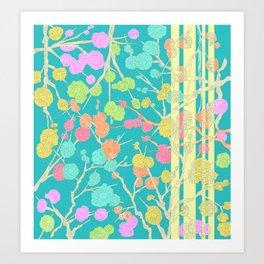 Bright Cherry Blossom Stripe Art Print