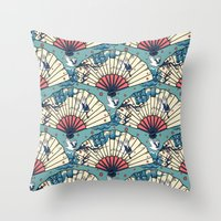 fantasy Throw Pillows featuring Oriental FanTasy by Paula Belle Flores