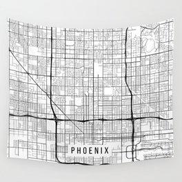 Phoenix Map, Arizona USA - Black & White Portrait Wall Tapestry