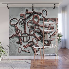 Vintage Skeleton Key Photograph Series Photo 6 – Metallic Red - by Jéanpaul Ferro Wall Mural