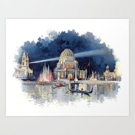 White City at Night, Chicago World's Fair of 1893 Art Print