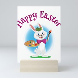 Happy Easter Bunny Painter with Paintbrush Mini Art Print