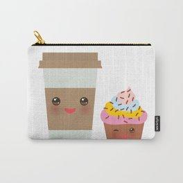 coffee in Paper thermo cup with brown cap and cup holder, chocolate cupcake. Kawaii Carry-All Pouch