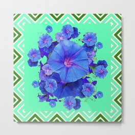 Decorative Green Pattern Blue Morning Glory Cluster Art Metal Print
