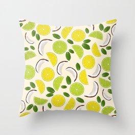 Lime Lemon Coconut Mint pattern Throw Pillow