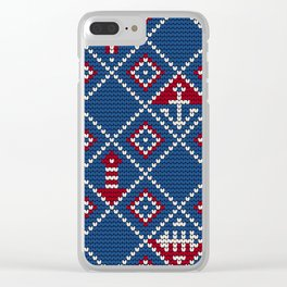 Grandma's knitting pattern for Saylor's Ugly sweater Clear iPhone Case